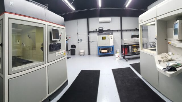 3D Printed – SLA - Panorama view of the Forerunner 3D Printing lab with 2 SLA printers in it