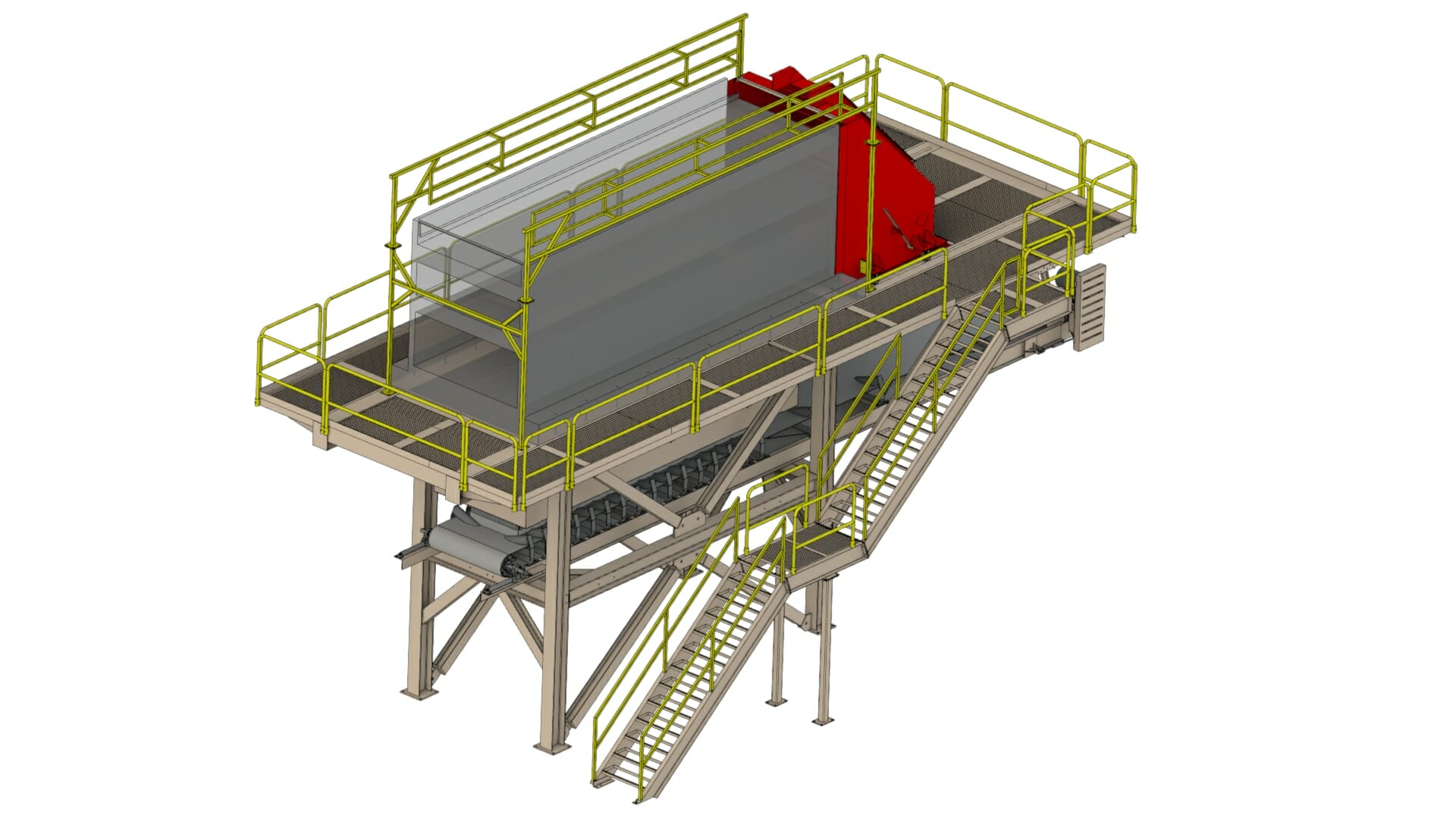 Solidworks - Agricultural & Heavy Equipment Design - Screen deck stand for sand mining