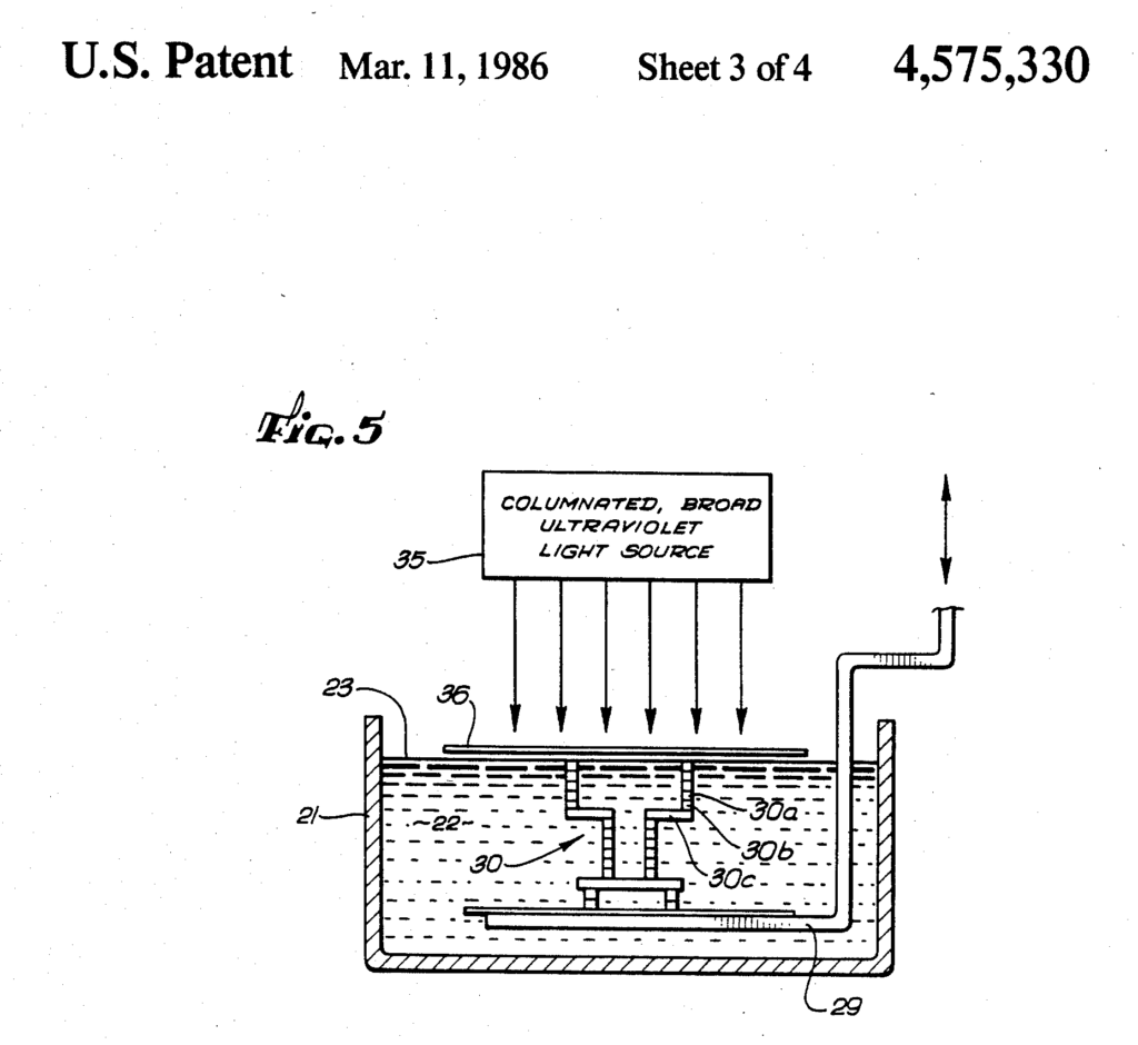 Patent image of a apparatus for production of three-dimensional objects by stereolithography